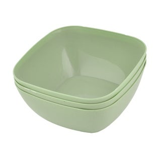 Refrigerator Plastic Square Fruit Foods Container Snacks Bowl Pale Green 3pcs