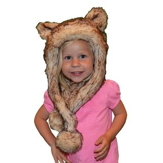 Little Girls Crystal Fox Faux Fur Hat 1T-5