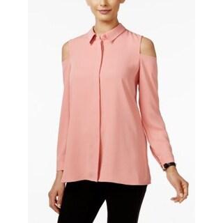 Alfani Petite Cold-Shoulder Womens Blouse, Pink, Size 12P