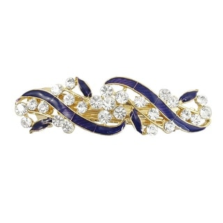 Unique Bargains Gold Tone Metal French Clip Faux Crystal Inlaid Blue Hairclip Barrette
