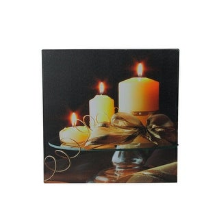 "LED Lighted Flickering Candles and Leaves Canvas Wall Art 12"" x 12"" - YELLOW"