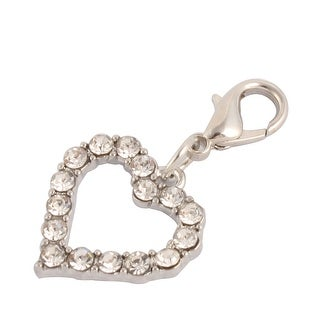 Party Rhinestone Mount Dog Ornament Pet Necklace Clasp Heart Charm Sliver Tone