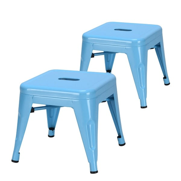 Costway Set of 2 Kids Stool Stackable Metal Children Toddlers Lightweight Blue