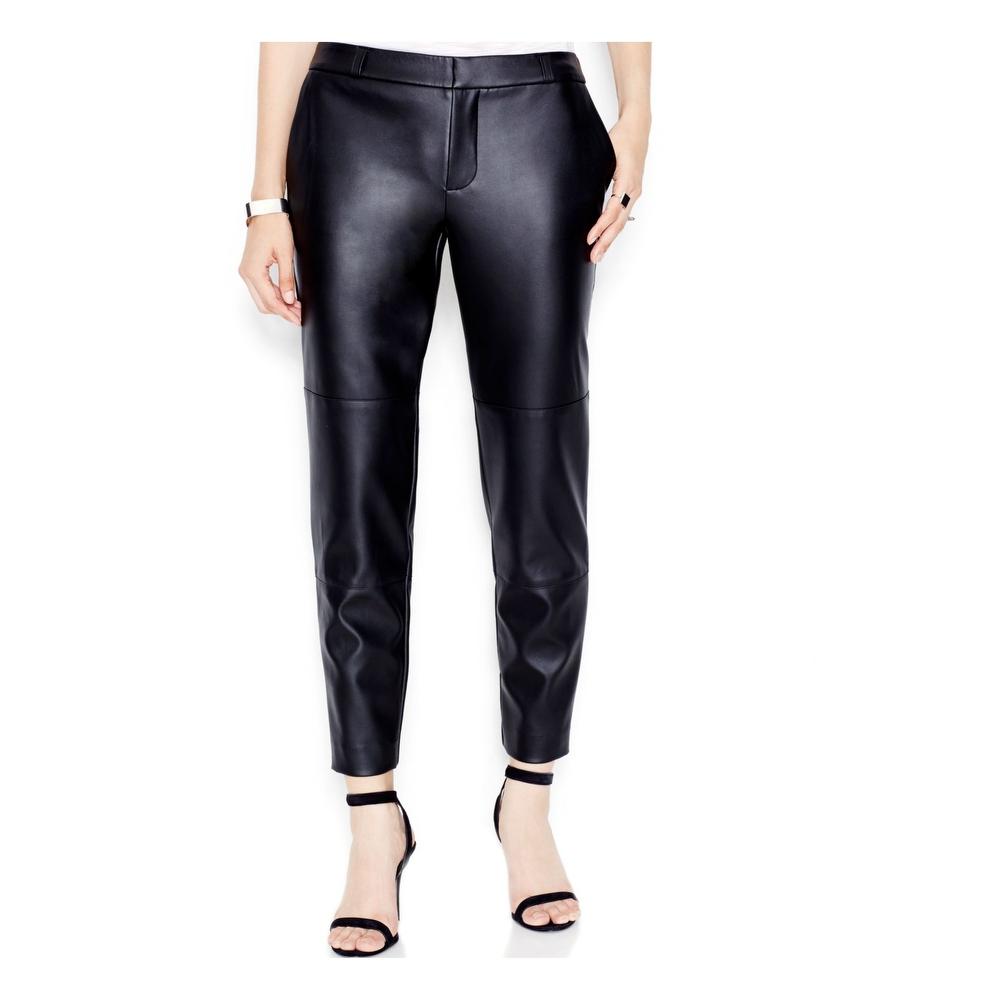 RACHEL ROY Womens Black Faux Leather Party Pants Size 4