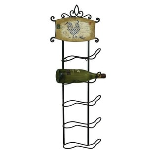 Pack of 2 Black Wine Racks with Decorative Plaques Home Decor - 34""