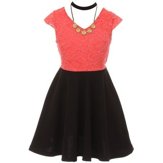 Floral Lace Top Necklace Flower Girl Dress USA Coral JKS 2107