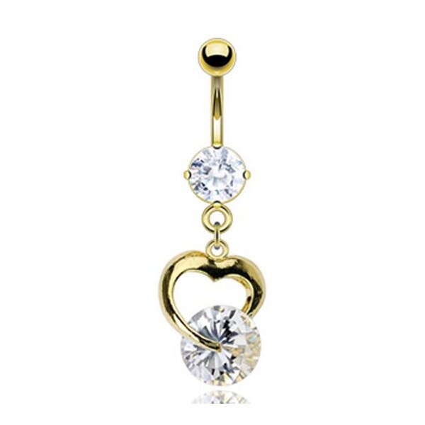 Gold Plated Prong-Set Gem Navel Belly Button Ring with Heart and Solitare Gem Dangle