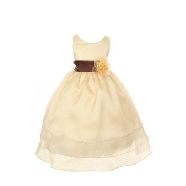1237ec157 Shop Little Girls Gold 3 Layer Organza Brown Sash Flower Girl Easter Dress  4-6 - Free Shipping Today - Overstock - 19294466