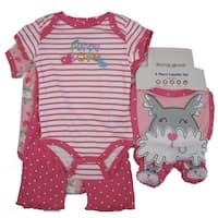Buster Brown Baby Girls Pink Puppy Striped Bodysuit 5 Pc Layette Set 0-9M