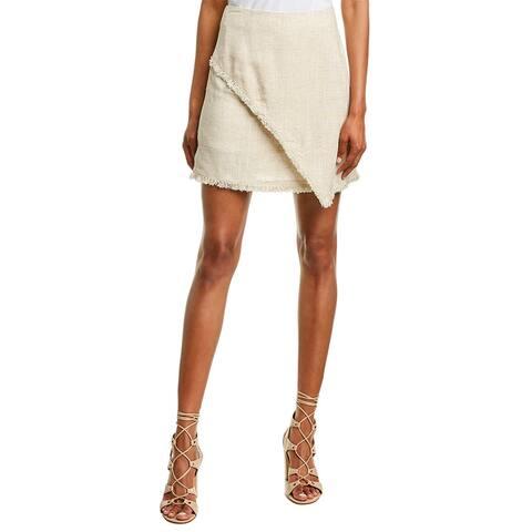 Very J Overlapping Linen-Blend Skirt