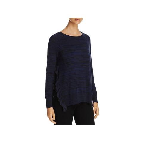 Heather B Womens Crewneck Sweater Ruffled Striped