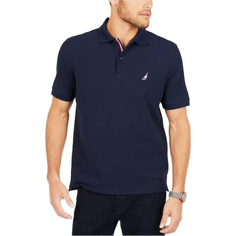 Nautica Mens Racer Rugby Polo Shirt, Blue, Medium