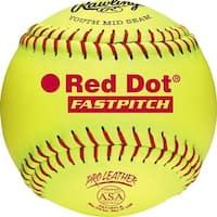 """Rawlings 11"""" ASA Red Dot Pro Leather Fastpitch Softball (DZ) Optic Yellow 11"""