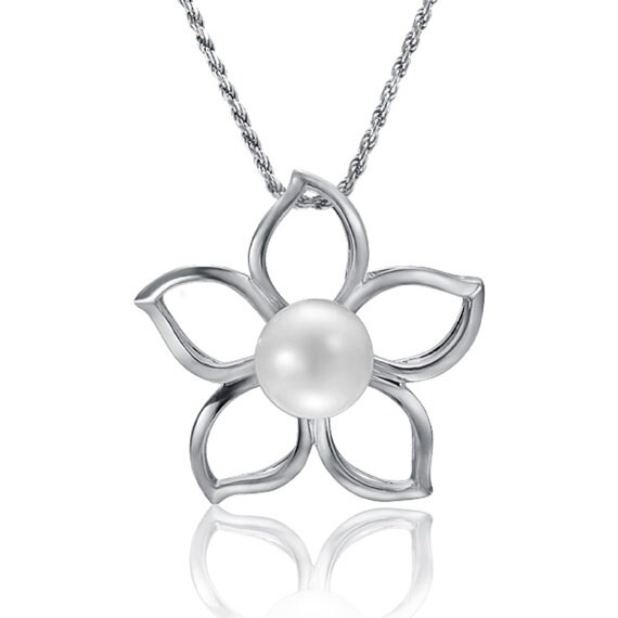 "Plumeria Flower Pearl Necklace Sterling Silver Pendant 18"" Chain"