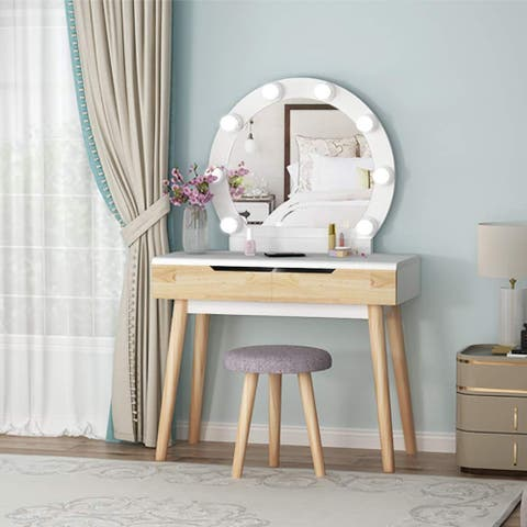 Wood Makeup Vanity Table Set with 8 LED Light Mirror 2 Drawers