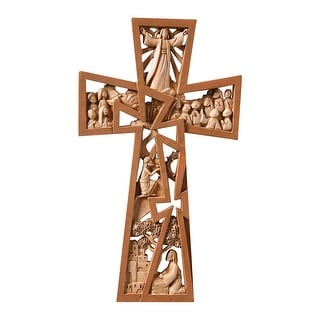 """Christ Is Risen Brown Resin Wall Cross - Stages of Christ Crucifix 9.5"""" x 5.5"""" - 10 in."""