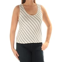 KENSIE Womens Ivory Striped Sleeveless Scoop Neck Top  Size: XS