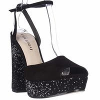 Via Spiga Varsha Platform Ankle Strap Dress Sandals, Black Silver