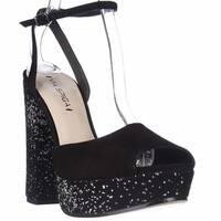 Via Spiga Varsha Platform Ankle Strap Dress Sandals, Black Silver