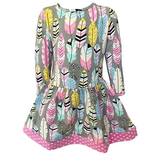 Link to AnnLoren Baby Big Girls Boutique Feather Polka Dot Soft Cotton Fall Winter Dress Similar Items in Girls' Clothing