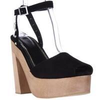 maje Flash Platform Studded Peep Toe Clog Sandals, Black - 10 us / 40 eu