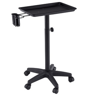 Gymax Black Equipment Salon Spa Service Tray Beauty Trolley Cart with Appliance Holder