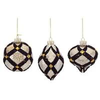 "Mercury Glass Ornament w/Beadwork (3 Asst) 4-8""H Glass"