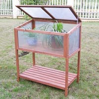 Costway Garden Portable Wooden Cold Frame Greenhouse Raised Flower Planter Protection - as pic