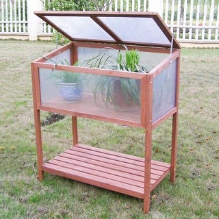 Costway Garden Portable Wooden Cold Frame Greenhouse Raised Flower Planter Protection