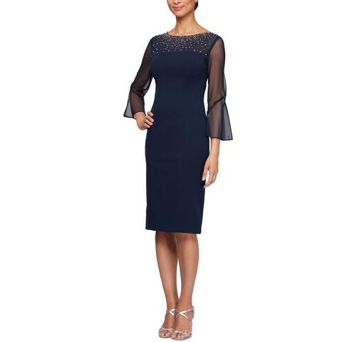 Alex Evenings Women's Illusion-Sleeve Dress Blue Size 8