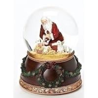 "Set of 2 Religious Musical Kneeling Santa Dome 6"" - Brown"