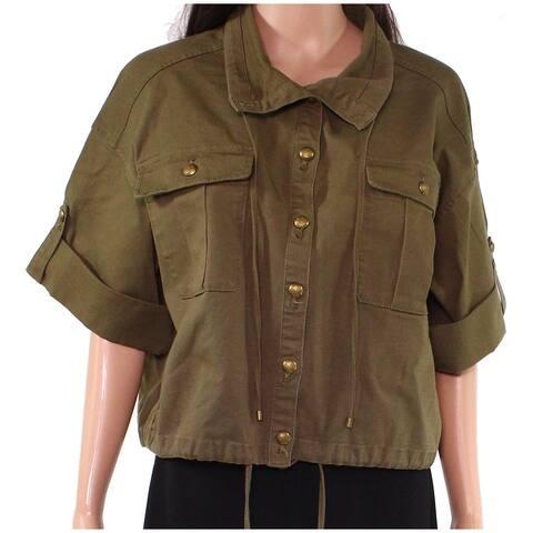 Lauren By Ralph Lauren Womens Jacket Green Size 16 Cropped Button Front