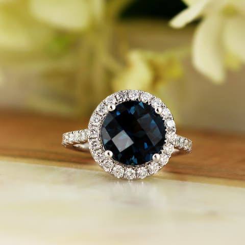 Auriya 3 1/3ct Fancy Round London Blue Topaz and Halo Diamond Engagement Ring 5/8ctw 14k Gold