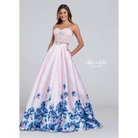 Floral Satin & Lace Two-Piece