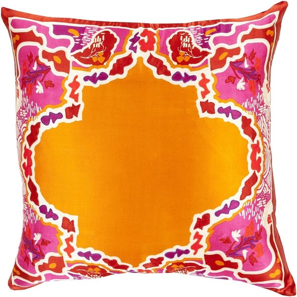 "20"" Bright Orange and Red Floral Pattern Woven Square Throw Pillow"