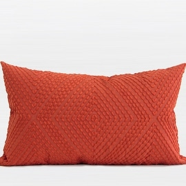 "G Home Collection Luxury Tangerine Diamond Embroidered Pillow 12""X20"""
