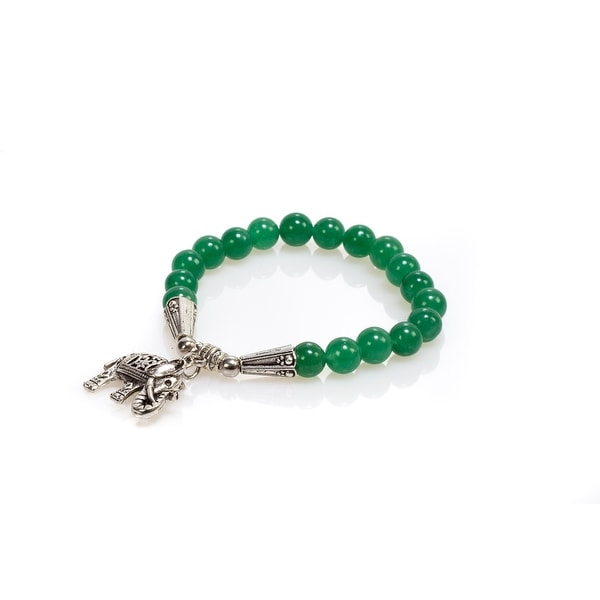 Natural Stone Meditation Stretch Bracelet Tibetan Mala with Good Luck Charm Elephant, Turquoise