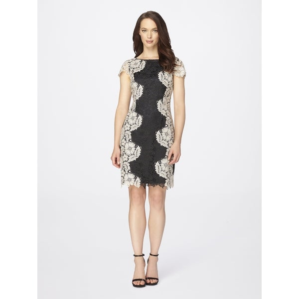 5fa7e96e8633 Shop Tahari by Arthur S. Levine Women's Chemical Short Sleeve Lace Dress  Black/Sand 2 - Free Shipping On Orders Over $45 - Overstock - 20657180