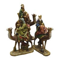 3-Piece 3 Kings on Camels Christmas Nativity Table Top Figurines - brown
