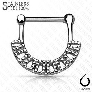 "Diamond-Cut Square Fan Surgical Steel Septum Clicker - 16GA - 3/8"" Length (Sold Ind.)"