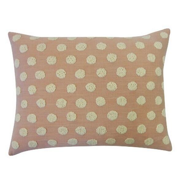 Vivai Home Peach Cotton Ball Rectangle 12x 20 Feather Throw Pillow - Pink