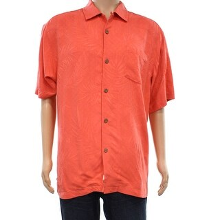 Tommy Bahama Fusion Orange Mens Size Medium M Button Down Silk Shirt