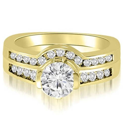 1.51 cttw. 14K Yellow Gold Round Cut Diamond Bridal Set