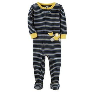 Carter's Little Boys' 1-Piece Construction Snug Fit Cotton PJs, 2-Toddler - Navy/Yellow