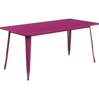 Brimmes Rectangular 31.5'' x 63'' Purple Metal Table for Indoor/Outdoor/Patio/Bar/Restaurant