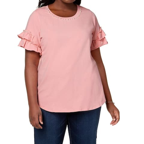 NY Collection Pink Women's Size 2X Plus Ruffle Sleeve Blouse