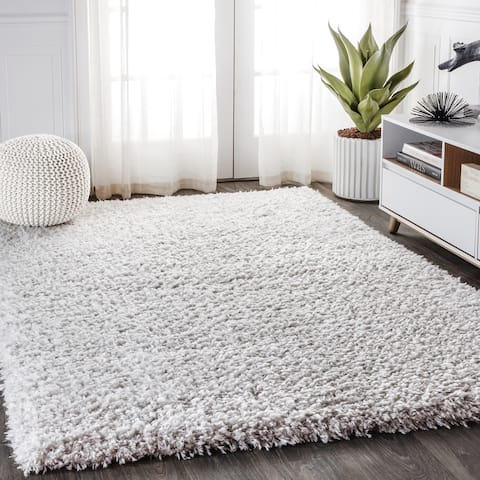 Aydin Solid Plush Shag Area Rug