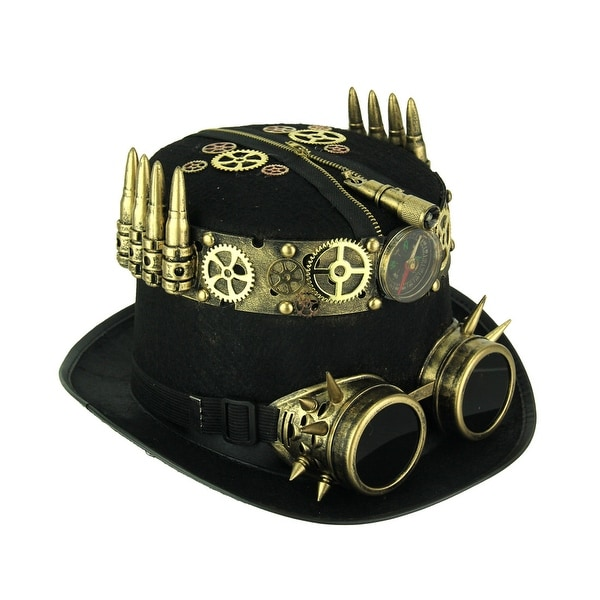 Shop Black and Brass Steampunk Top Hat with Pressure Gauge ...
