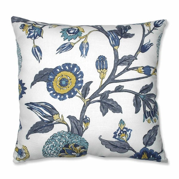 "24.5"" Gray and Blue Floral Patterned Indoor Square Floor Pillow with Sewn Seam Closure"