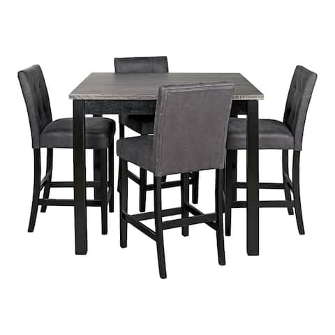 Garvine Contemporary Square Counter Table Set Set of 5, Green